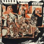 Odjezd (1951), 56 x 66 cm, barevná litografie