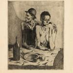 Z cyklu Kejklíři (1904-1905), Skromné jídlo 46,5 x 37,5 cm, suchá jehla,lept